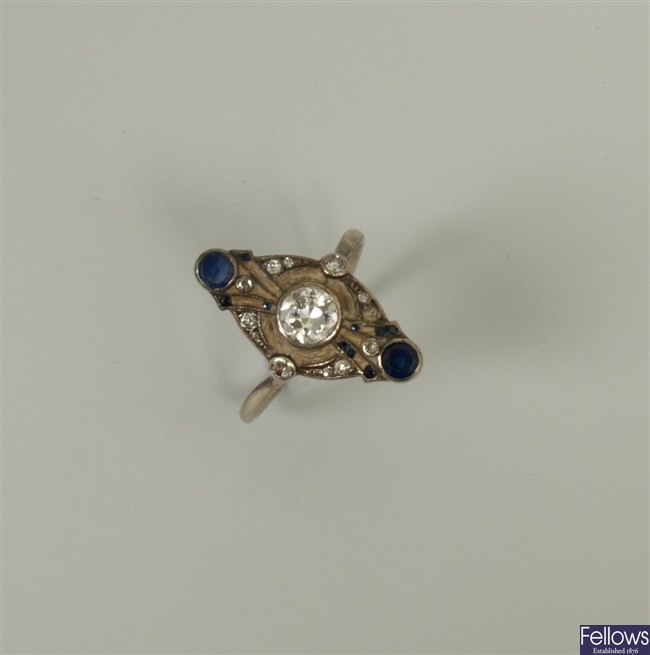 An early 20th century diamond and sapphire set up