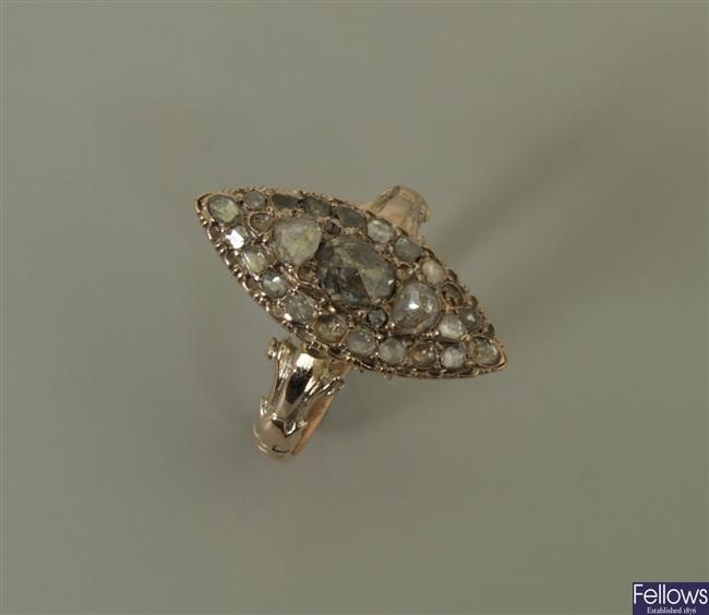 A 19th century rose cut diamond set marquise