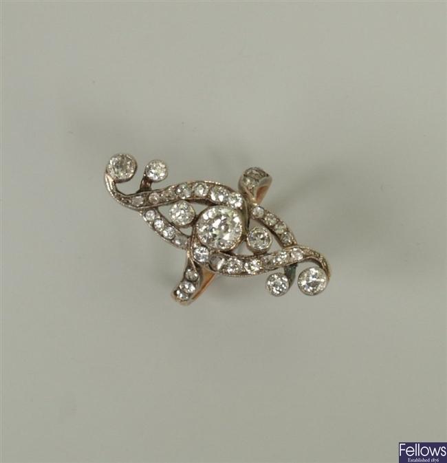 An early 20th century ornate design diamond up