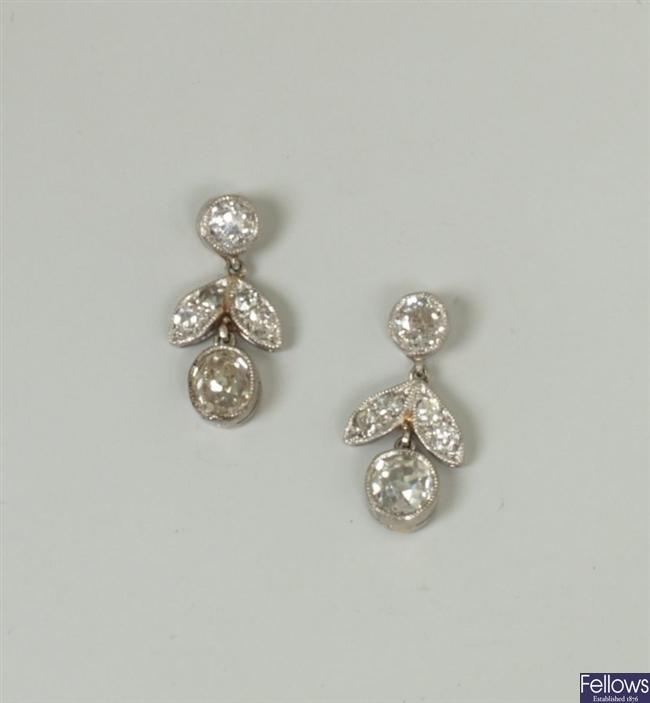 A pair of diamond set floral design dropper