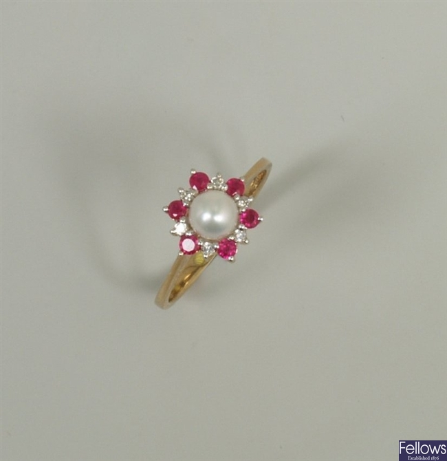 9ct gold cultured pearl, ruby and diamond dress