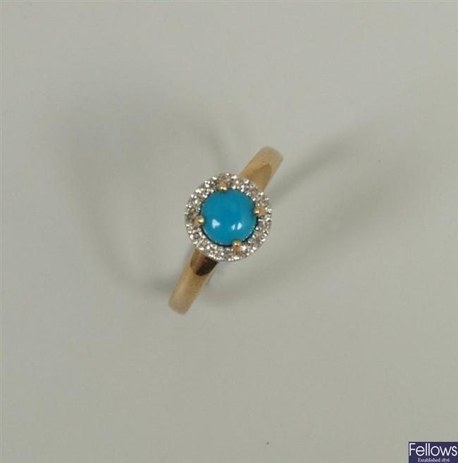 9ct gold turquoise and illusion set diamond