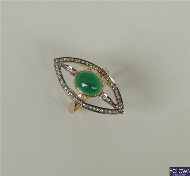 A jade and diamond set marquise shape up finger