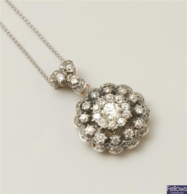 A Russian old European cut diamond floral design