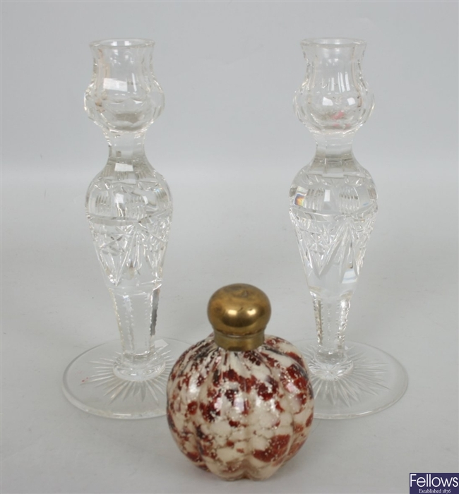 A heavy glass vase of campana shaped form, a cut