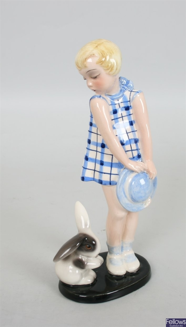 A Goldscheider pottery figure modelled as a young