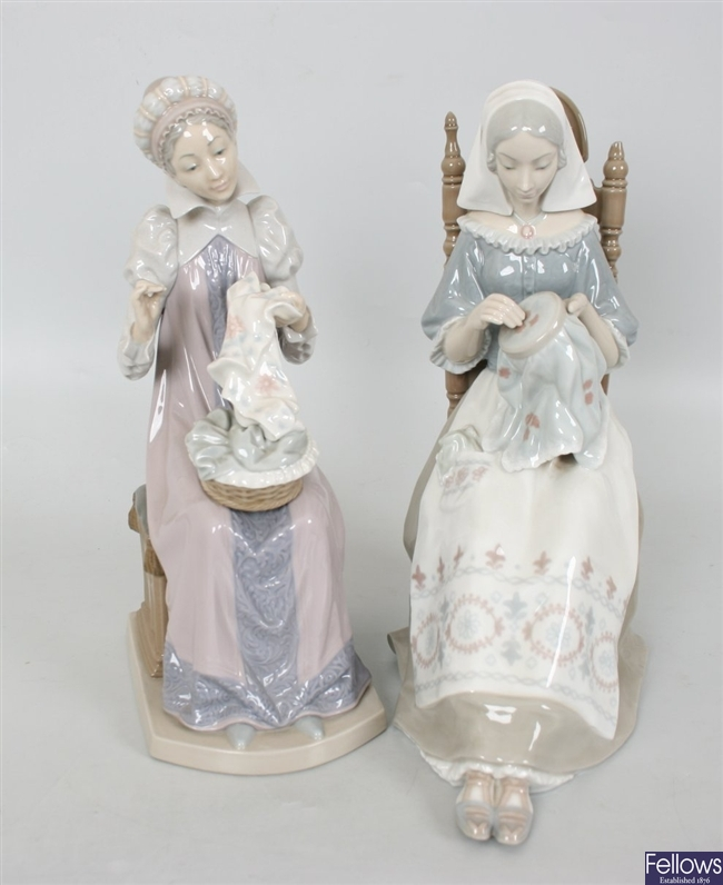 A pair of large Lladro figures, each modelled as