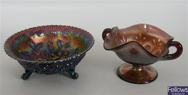 A collection of various carnival glass to include