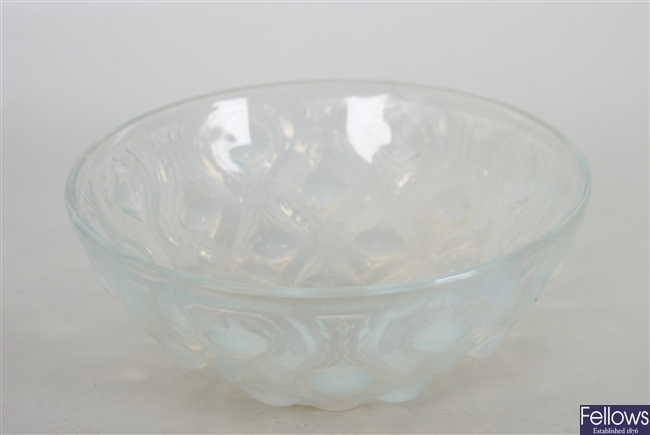 A Lalique blue opalescent glass bowl, decorated