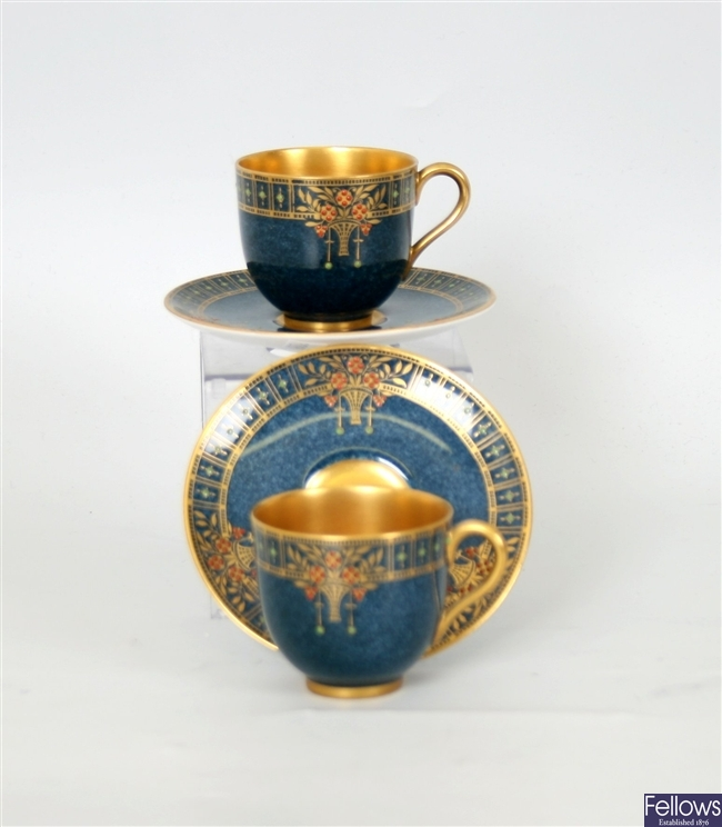 A set of six 1930's Royal Worcester cups and