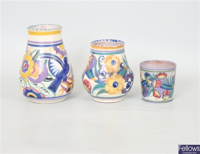 Three various Poole vases, each decorated with