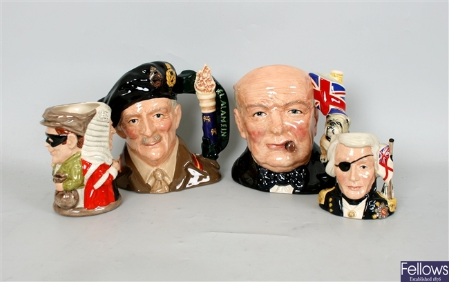 A collection of Royal Doulton character jugs to