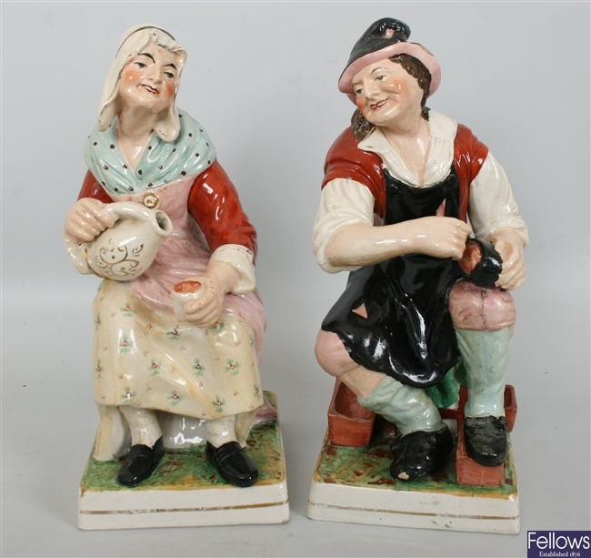 A pair of large late 19th century Staffordshire