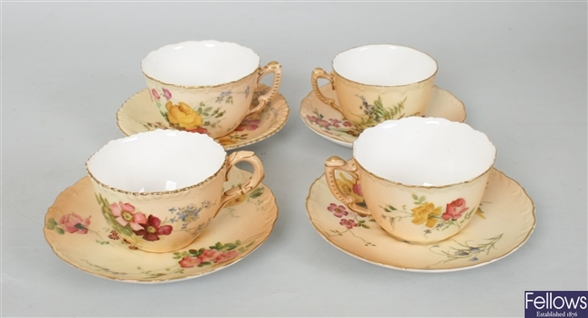 Four Royal Worcester bone china cups and saucers,