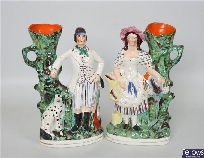 A pair of 19th century Staffordshire pottery