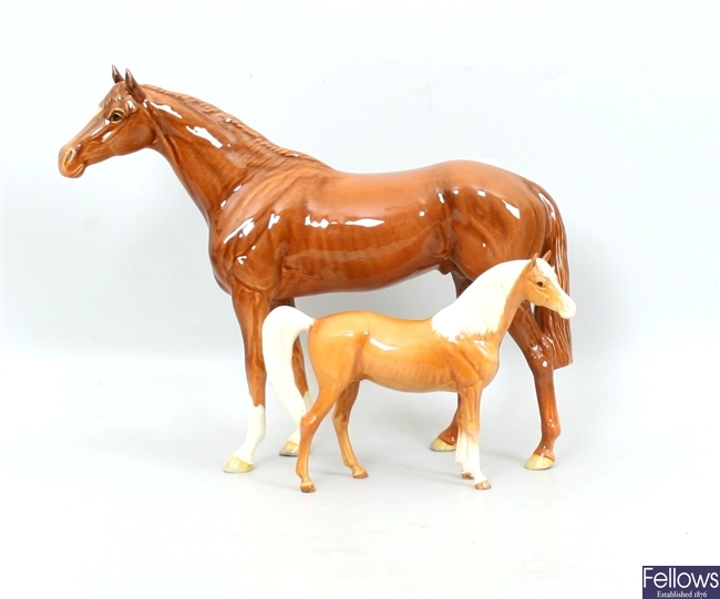 A Beswick chestnut racehorse, no.1564; together