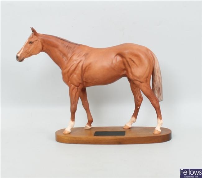 A Beswick race horse on plinth 'Grundy', no. 2558
