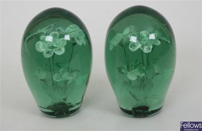 A pair of Victorian green glass 'dump'