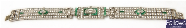 An Art Deco emerald and diamond bracelet, in the
