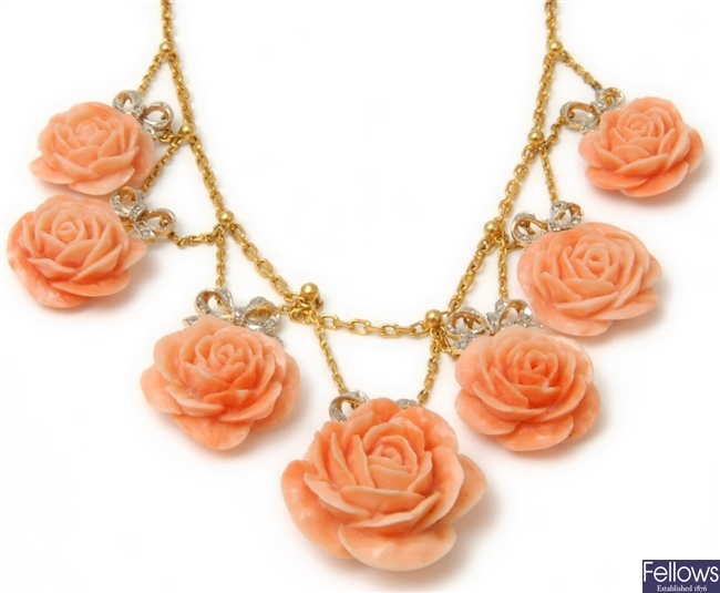 A diamond and coral floral design necklace, in
