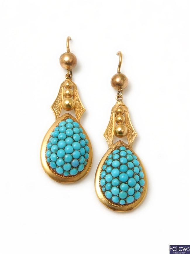 A pair of Victorian turquoise dropper earrings