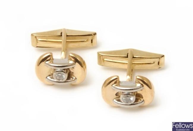 A pair of 18ct bi-colour gold diamond set