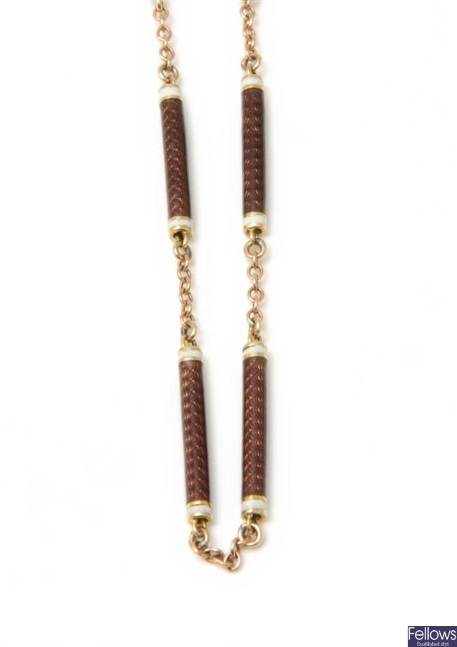 A mid twentieth century 9ct gold fancy necklet,