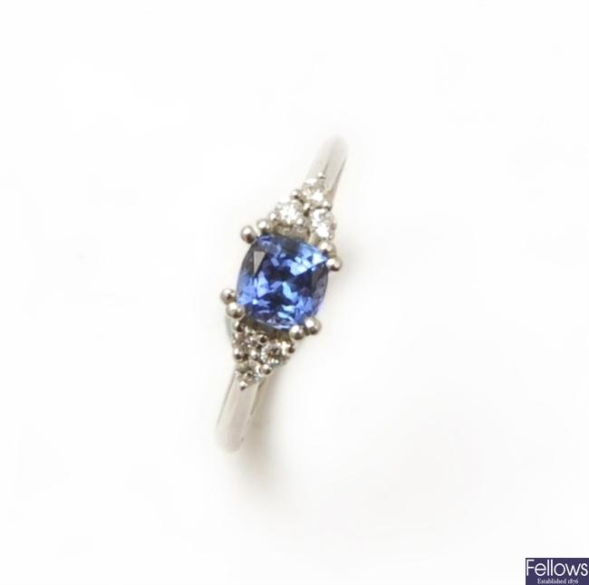 An 18ct white gold tanzanite and diamond ring,