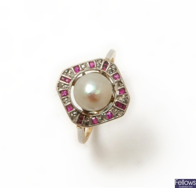 A cultured bouton pearl, diamond and ruby cluster