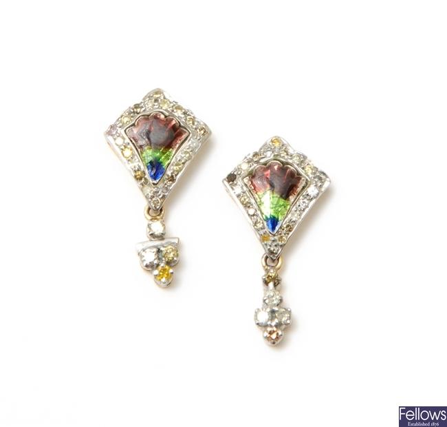 A pair of enamel and diamond dropper earrings