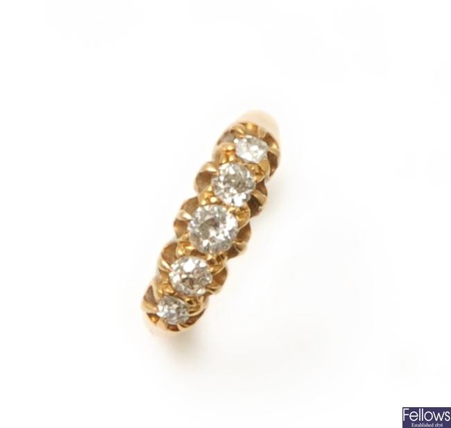 A five stone old European cut diamond ring, each