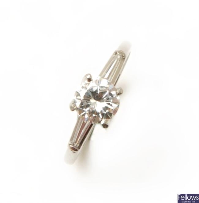 A single stone round brilliant diamond ring, the
