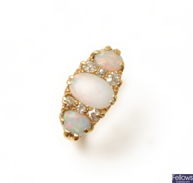 A Victorian 18ct gold opal and diamond ring, with