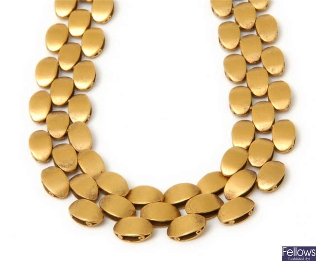 A Victorian necklace, in a the design of three