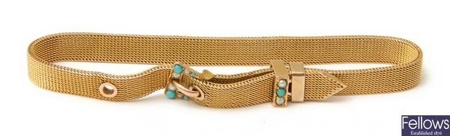 An Edwardian belt design bracelet, with turquoise