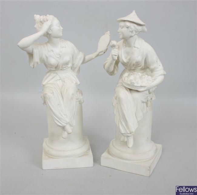A pair of Royal Worcester bone china matt glazed