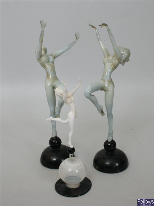 A pair of decorative Studio glass figures