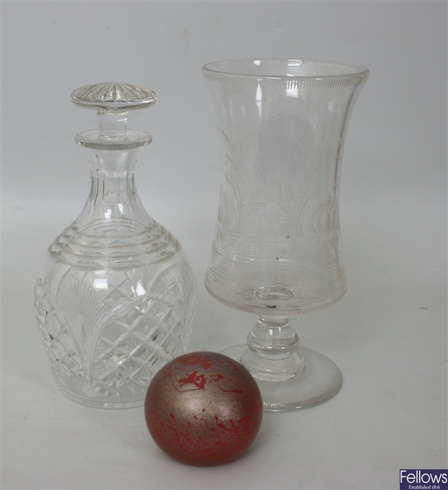 Two cut glass decanters with stoppers, an