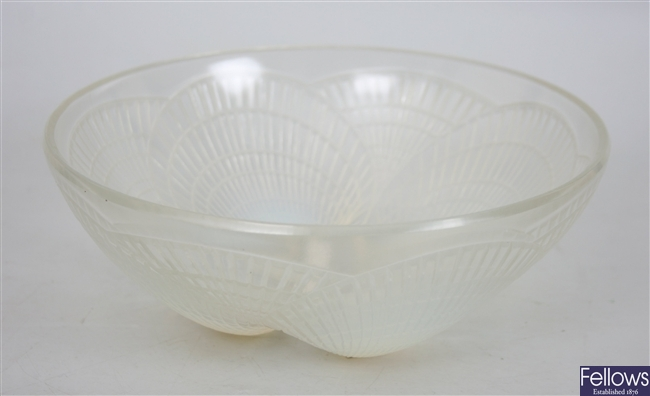 A Lalique blue opaque glass bowl decorated in the
