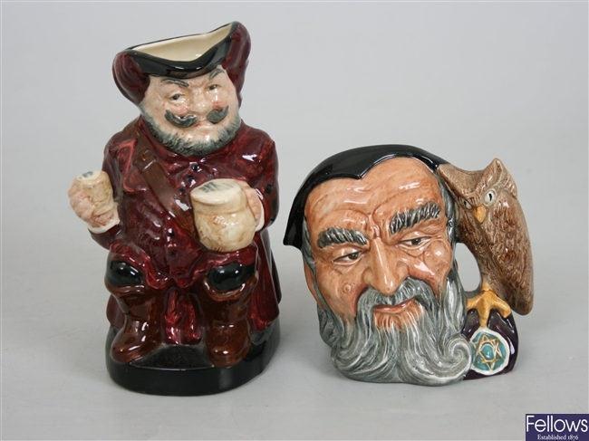 Eight Royal Doulton pottery character mugs and