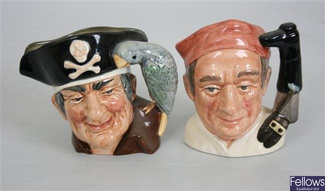 Eight Royal Doulton character mugs and jugs to
