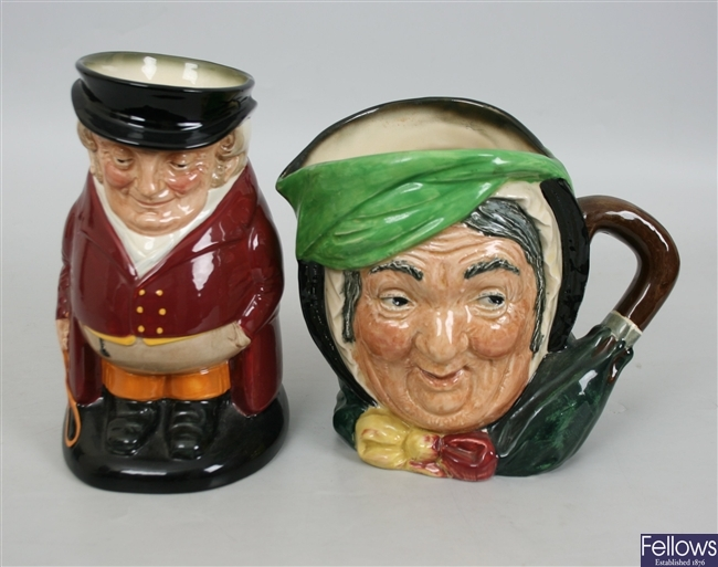 Four large Royal Doulton pottery character jugs