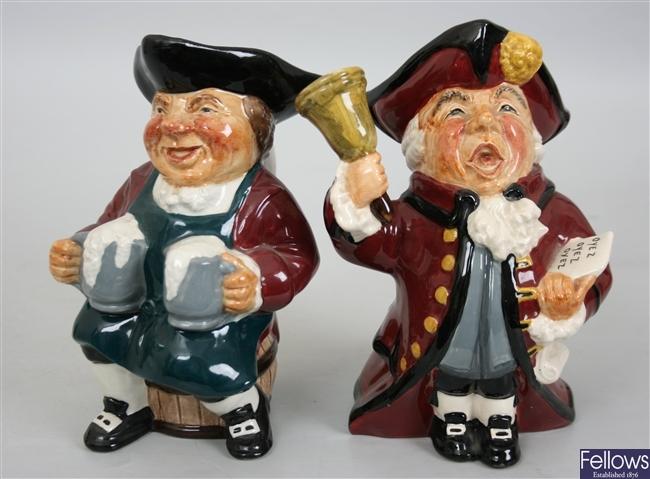 Twelve Roy Kirkham novelty pottery character jugs