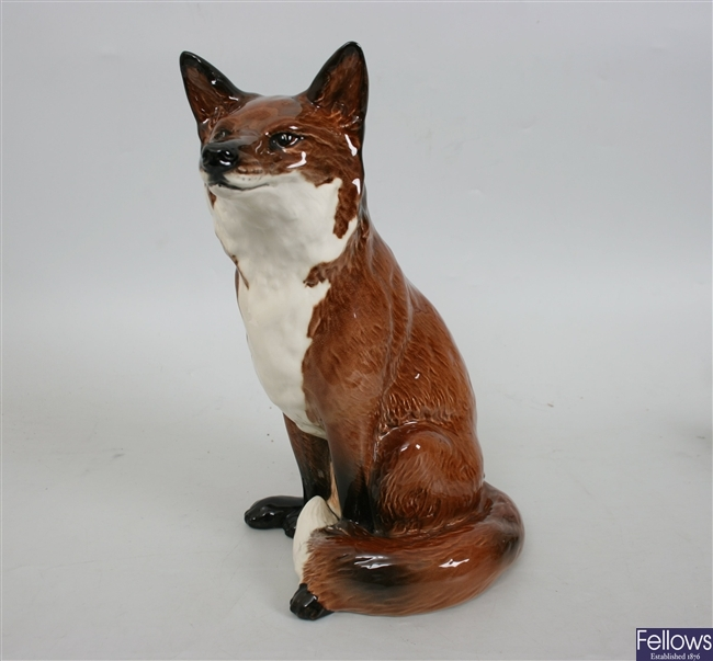 A large Beswick red, brown and white gloss fox,