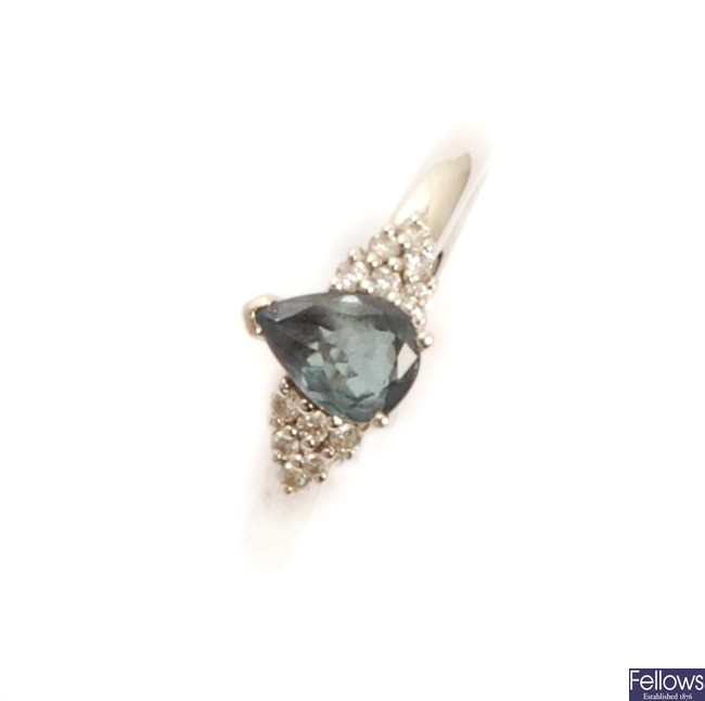An 18ct white gold alexandrite and diamond ring,