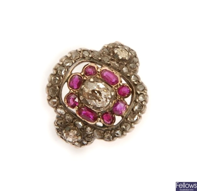 A Victorian ruby and diamond cluster ring,