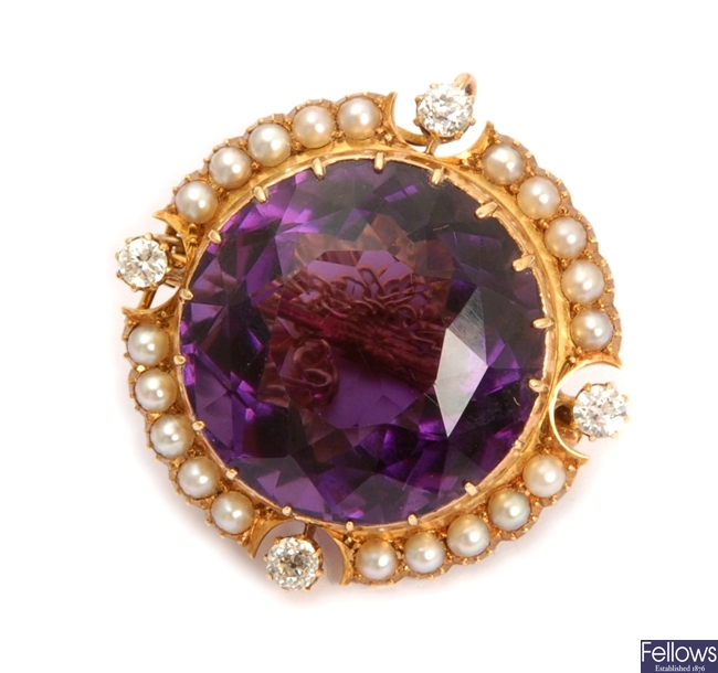 An Edwardian 15ct gold amethyst, pearl and