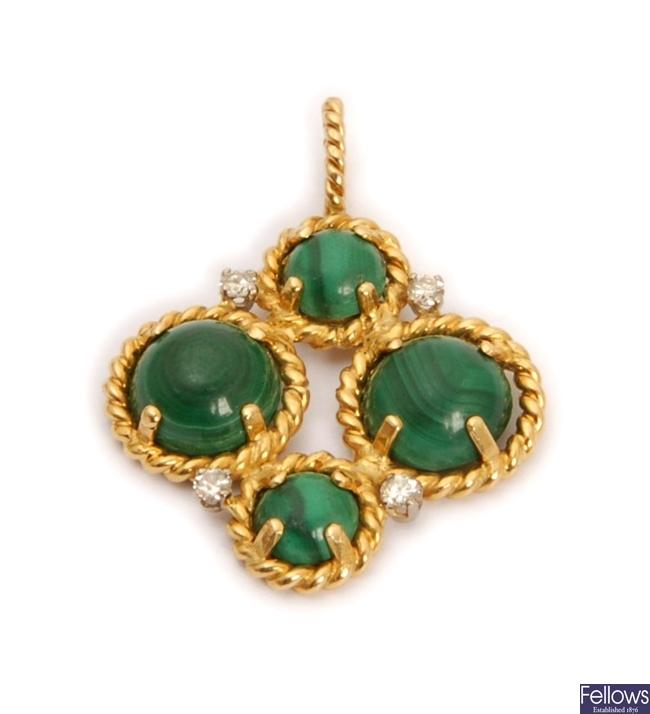 A 1970's 18ct gold malachite and diamond pendant,