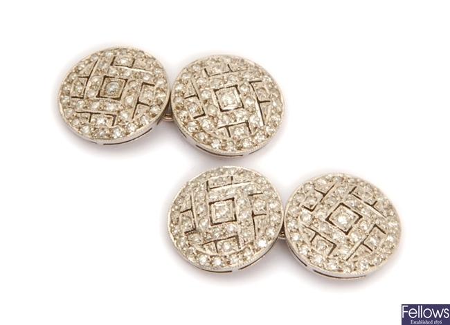 A pair of diamond set chain link cufflinks