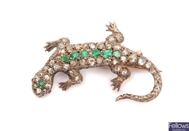 An early twentieth century lizard brooch set with